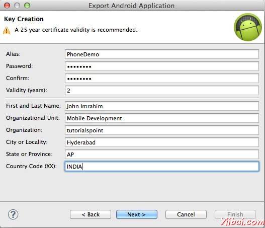 Android Key Creation