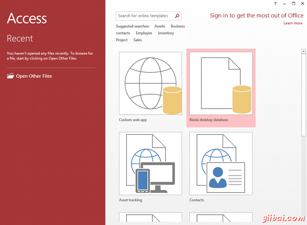 MS Access 2013: Creating a new database in Access - step 1a