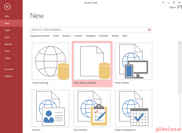 MS Access 2013: Creating a new database in Access - step 2