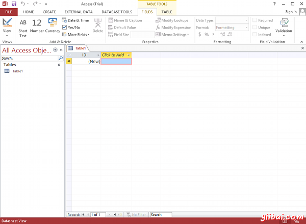 MS Access 2013: Creating a new database in Access - step 4