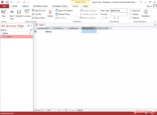 Creating a database table in MS Access 2013 - step 4