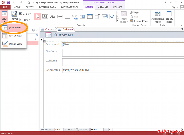 MS Access 2013: Create a form - step 2