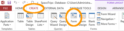 MS Access 2013: Create a form - step 1