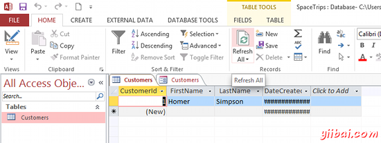 MS Access 2013: Create a form - step 4