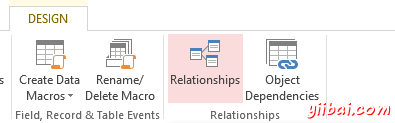 Screenshot of the the Relationship button on the MS Access 2013 Ribbon