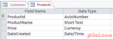 Screenshot of Products table