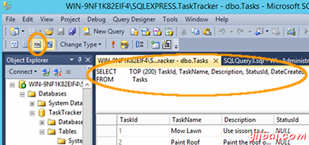 Screenshot of pasting data into a table in SSMS