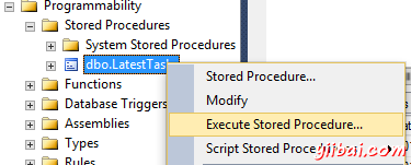 Initiating the execution of a stored procedure